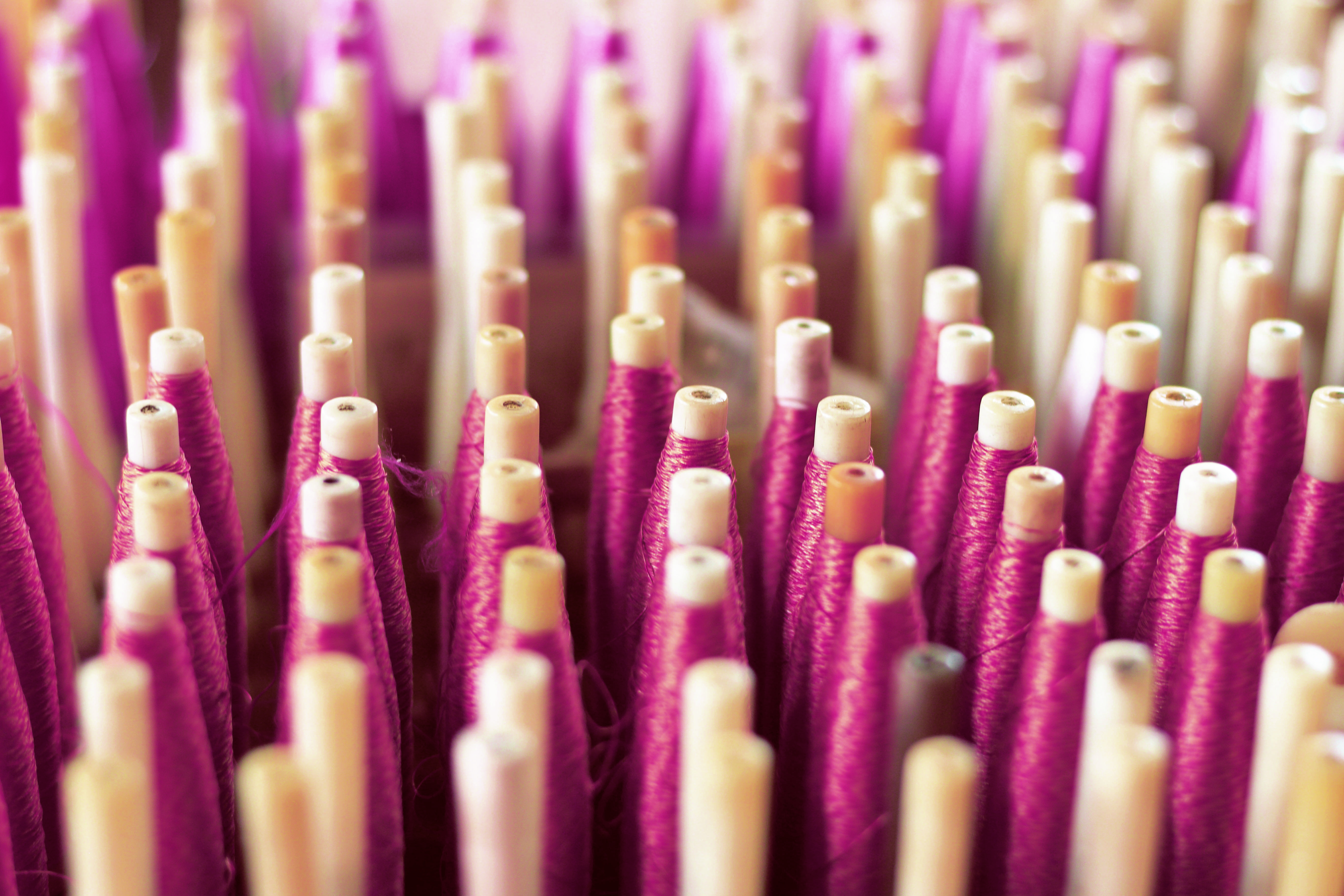 Closeup of weaving thread for the textile industry