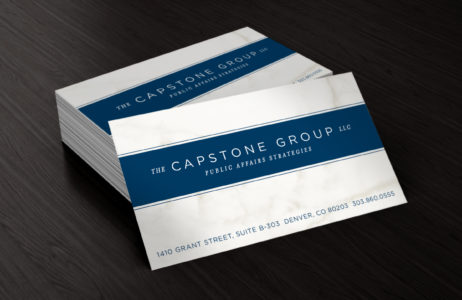 Capstone Group business cards close up