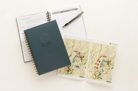 Gettysburg Leadership Experience notebook with map