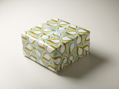 Frederic Printing green and blue pattern gift wrap