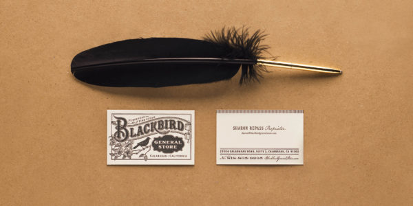 Blackbird General Store business cards with feather