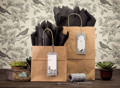 Blackbird General Store hang tags on paper bags