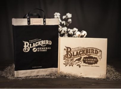 Blackbird General Store canvas bag and etched wood box