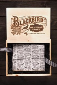 Blackbird General Store etched wood box with printed wrapping paper
