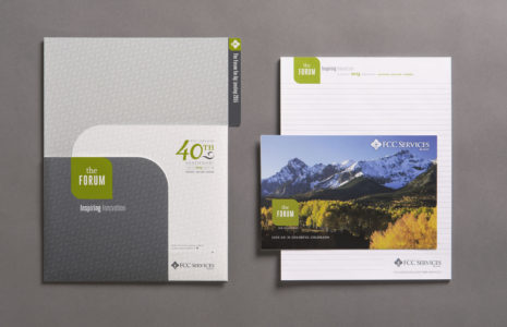 FCC Services Conferences folder with notepad and postcard
