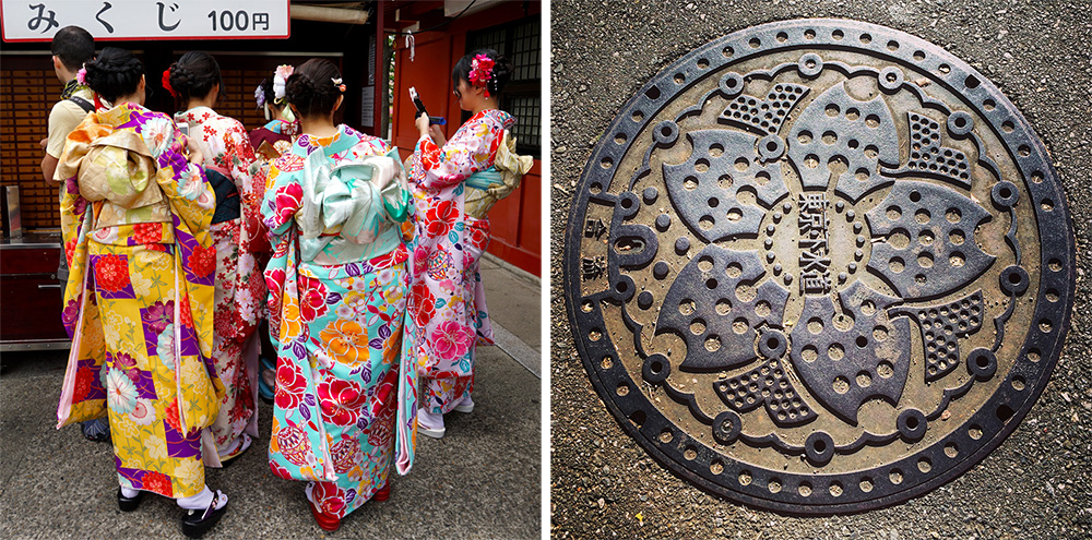 Kimonos and a Manhole Cover in Japan